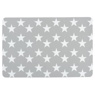 Gray and White Star Pattern Floor Mat
