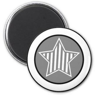 Gray and White Star Round Magnet