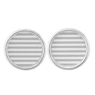 Gray and White Stripe Pattern Cuff Links