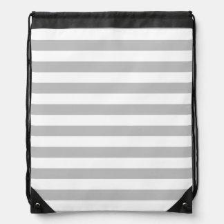Gray and White Stripe Pattern Drawstring Bag