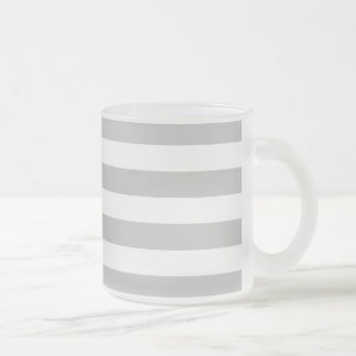 Gray and White Stripe Pattern Frosted Glass Coffee Mug