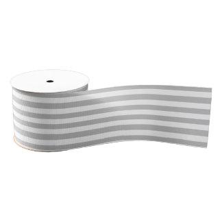 Gray and White Stripe Pattern Grosgrain Ribbon