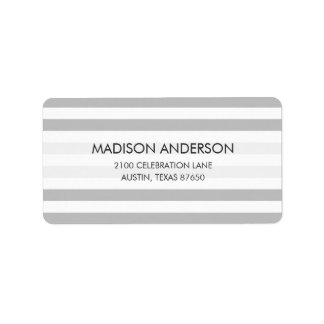 Gray and White Stripe Pattern Label