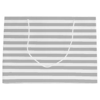 Gray and White Stripe Pattern Large Gift Bag