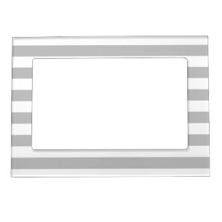 Gray and White Stripe Pattern Magnetic Picture Frame