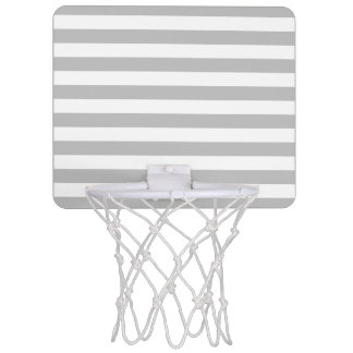 Gray and White Stripe Pattern Mini Basketball Hoop