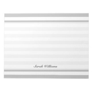 Gray and White Stripe Pattern Notepad