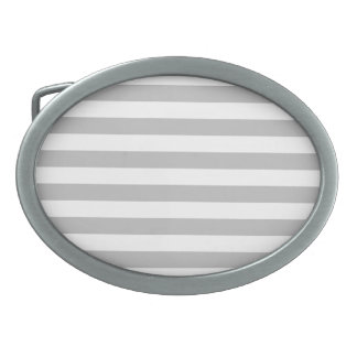 Gray and White Stripe Pattern Oval Belt Buckle