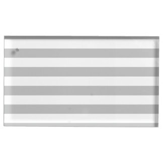 Gray and White Stripe Pattern Table Card Holder