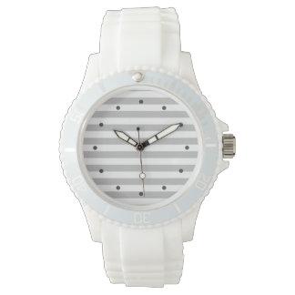 Gray and White Stripe Pattern Watch