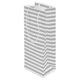 Gray and White Stripe Pattern Wine Gift Bag
