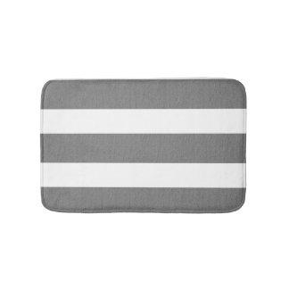 Gray and White Striped Custom Bathroom Rug