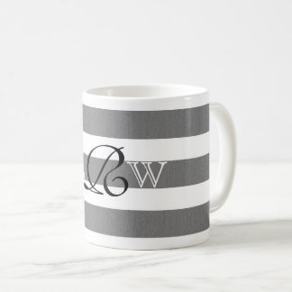 Gray and White Striped Custom Monogram Mug