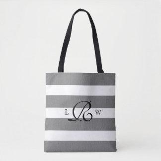 Gray and White Striped Custom Monogram Tote Bag