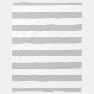 Gray and White Striped Fleece Blanket