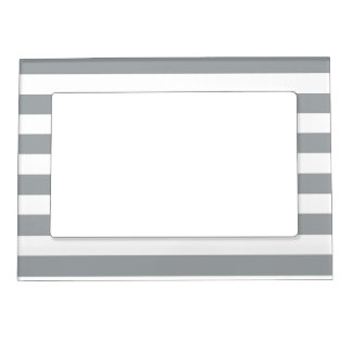 Gray and White Stripes Magnetic Picture Frame