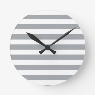 Gray and White Stripes Round Clock