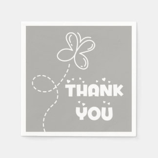 Gray And White Thank You Hearts & Butterfly Disposable Serviette