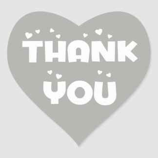 Gray And White Thank You Hearts & Love Wedding Heart Sticker