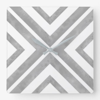 Gray and White Watercolor Geometric Square Wall Clock