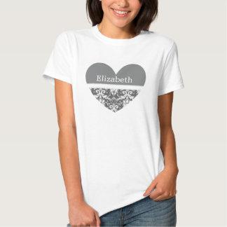 Gray and White Wedding Damask White Ribbon C20A Tee Shirt