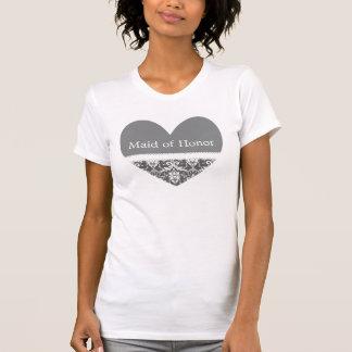 Gray and White Wedding Damask White Ribbon C20D T-Shirt