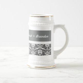 Gray and White Wedding Damask White Ribbon G70B Beer Stein