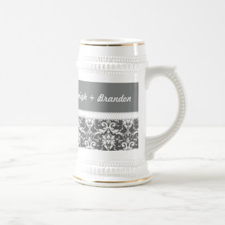 Gray and White Wedding Damask White Ribbon G70B Beer Steins