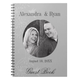 Gray and White Wedding Guest Sign In Notebooks