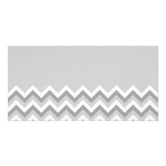 Gray and White Zig Zag Pattern. Part Plain Gray. Custom Photo Card