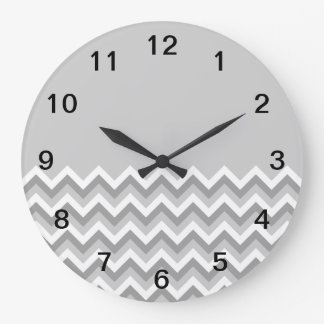 Gray and White Zig Zag Pattern. Part Plain Gray. Large Clock