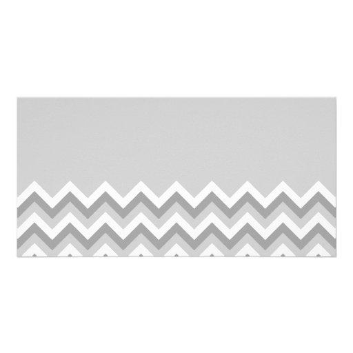Gray and White Zig Zag Pattern. Part Plain Gray. Customized Photo Card