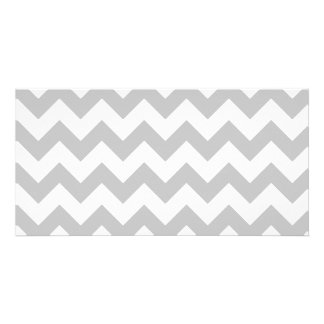 Gray and White Zigzag Chevron Pattern Customised Photo Card