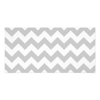 Gray and White Zigzag Chevron Pattern Customised Photo Card