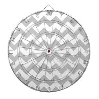 Gray and White Zigzag Chevron Pattern Dartboard With Darts