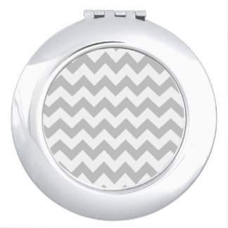 Gray and White Zigzag Chevron Pattern Makeup Mirrors