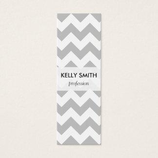 Gray and White Zigzag Chevron Pattern Mini Business Card