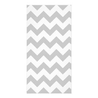 Gray and White Zigzag Chevron Pattern Picture Card