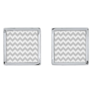 Gray and White Zigzag Chevron Pattern Silver Finish Cuff Links