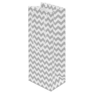 Gray and White Zigzag Chevron Pattern Wine Gift Bag