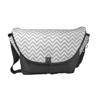 Gray and White Zigzag Stripes Chevron Pattern Courier Bags