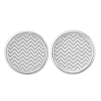 Gray and White Zigzag Stripes Chevron Pattern Cufflinks