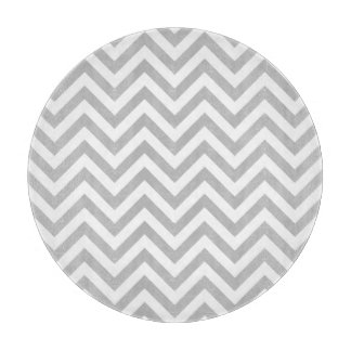 Gray and White Zigzag Stripes Chevron Pattern Cutting Board