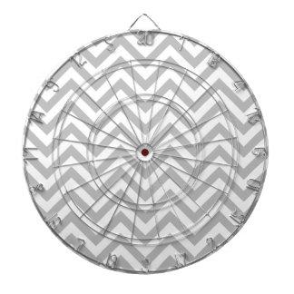Gray and White Zigzag Stripes Chevron Pattern Dartboard
