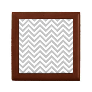 Gray and White Zigzag Stripes Chevron Pattern Gift Box