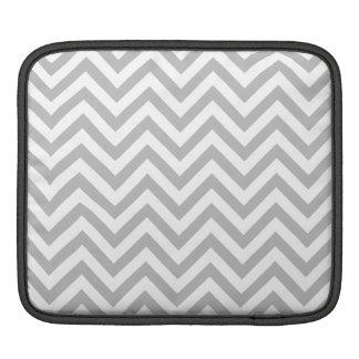 Gray and White Zigzag Stripes Chevron Pattern iPad Sleeve