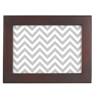 Gray and White Zigzag Stripes Chevron Pattern Keepsake Box
