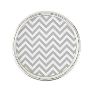 Gray and White Zigzag Stripes Chevron Pattern Lapel Pin
