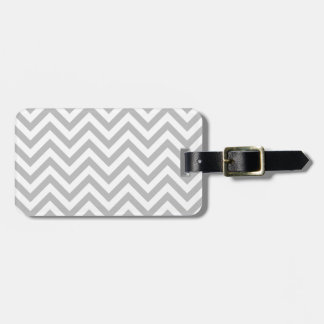 Gray and White Zigzag Stripes Chevron Pattern Luggage Tag