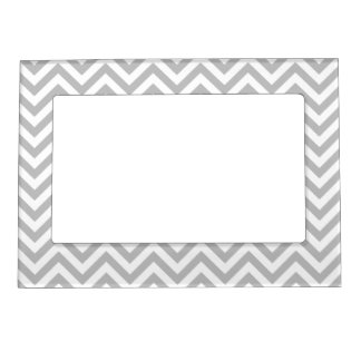 Gray and White Zigzag Stripes Chevron Pattern Magnetic Picture Frame